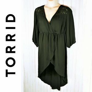 TORRID Sheer Black Chiffon Lace Tunic SZ 3 (22-24)